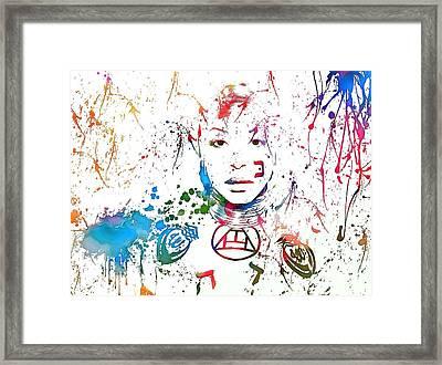 Erykah Badu Paint Splatter Framed Print by Dan Sproul