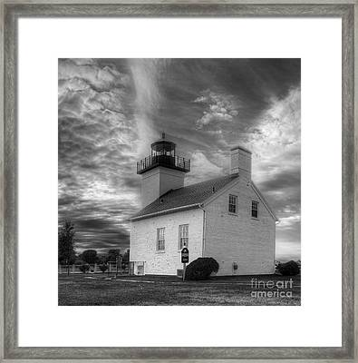 Esacanaba Lighthouse In Black And White Framed Print by Twenty Two North Photography