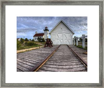 Escanaba Lighthouse And Boat House Framed Print by Twenty Two North Photography