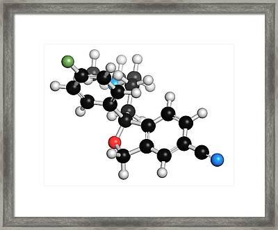 Escitalopram Antidepressant Drug Molecule Framed Print by Molekuul