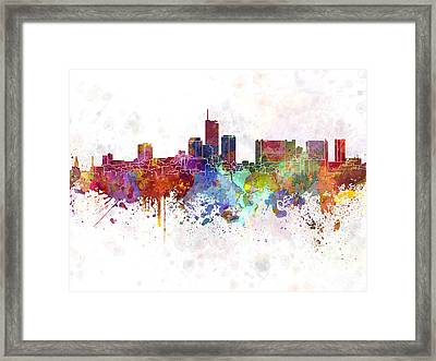 Essen Skyline In Watercolor Background Framed Print by Pablo Romero