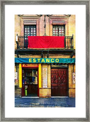 Estanco Tobacos - Seville Framed Print by Mary Machare