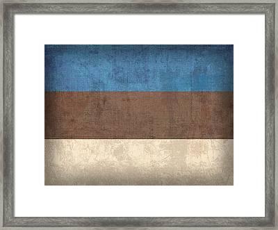 Estonia Flag Vintage Distressed Finish Framed Print by Design Turnpike