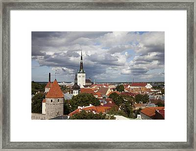 Estonia, Tallin, Overview Of The Old Framed Print by Tips Images