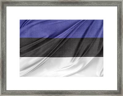 Estonian Flag Framed Print by Les Cunliffe
