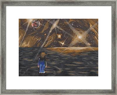 Etestska Lying On Pluto Framed Print by Keith Gruis