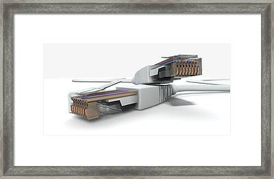 Ethernet Cables Unplugged Closeups Framed Print by Allan Swart