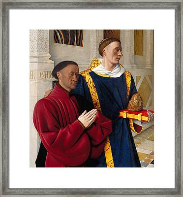 Etienne Chevalier With St Stephen Framed Print by Jean Fouquet