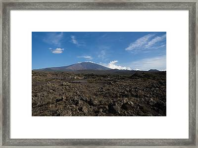 Etna Did This - The Lava Fields And The Volcano  Framed Print by Georgia Mizuleva