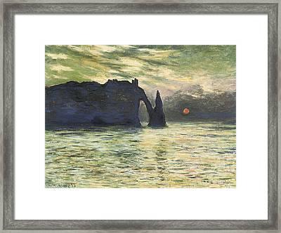 Etretat Sunset Framed Print by Claude Monet