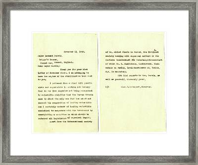 Eugenics Correspondence Framed Print by American Philosophical Society