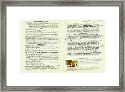 Eugenics Data Collection Framed Print by American Philosophical Society