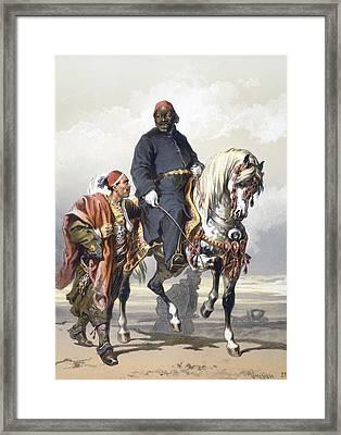 Eunuch Of The Seraglio On A Fine Arab Framed Print by Amadeo Preziosi