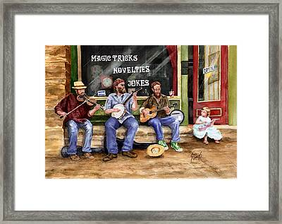 Eureka Springs Novelty Shop String Quartet Framed Print by Sam Sidders