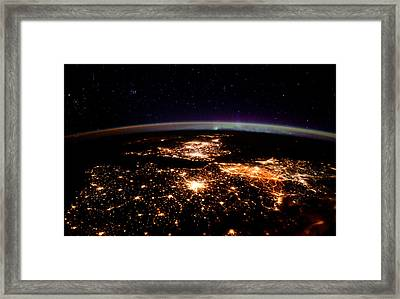 Europe At Night, Satellite View Framed Print by Science Source