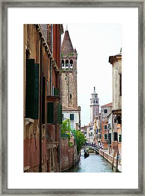 Europe Italy Venice Gondoliers Framed Print by Terry Eggers