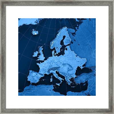 Europe Topographic Map Framed Print by Frank Ramspott