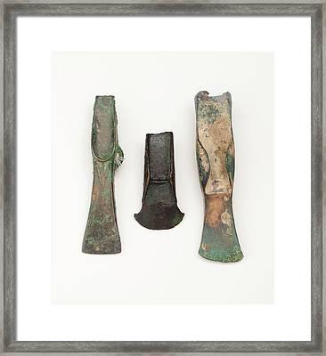 European Bronze Age Axe Heads Framed Print by Paul D Stewart