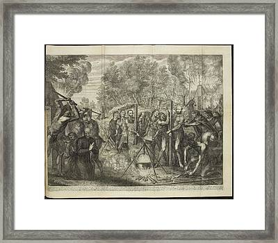 Europeans Being Put To Death By Natives Framed Print by British Library