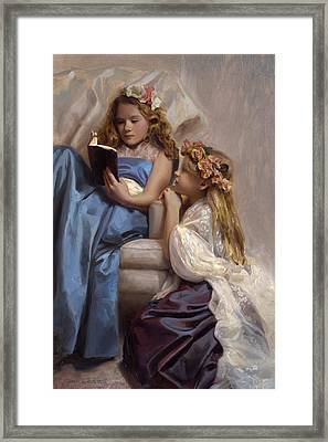 Victorian Era Portrait Of Two Girls Reading A Book Framed Print by Karen Whitworth