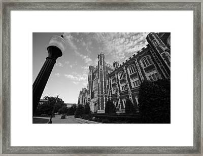 Evans Hall In Black And White Framed Print by Nathan Hillis