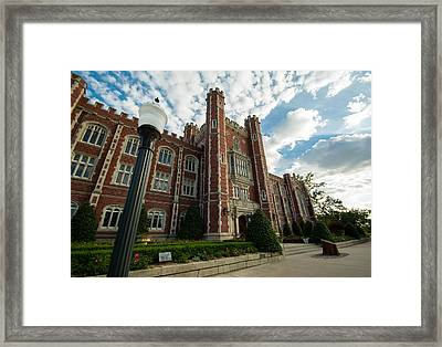 Evans Hall In The Evening Framed Print by Nathan Hillis