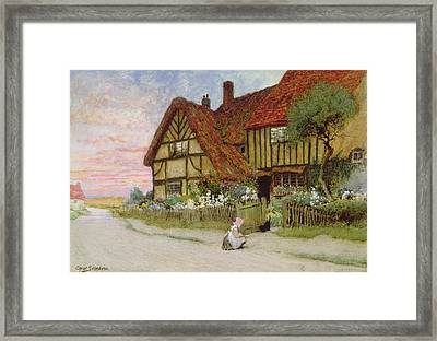 Evening Framed Print by Arthur Claude Strachan