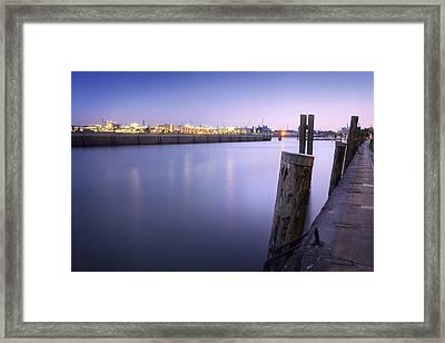 Evening At The Port Of Hamburg Framed Print by Marc Huebner