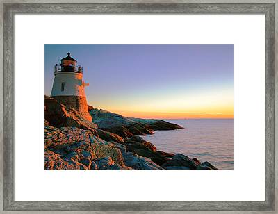 Evening Calm At Castle Hill Lighthouse Framed Print by Roupen  Baker