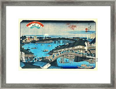 Evening Glow Ryogoku Bridge 1844 Framed Print by Padre Art