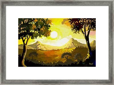 Evening Gold Framed Print by Anthony Mwangi