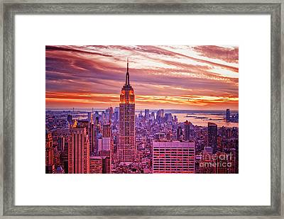 Evening In New York City Framed Print by Sabine Jacobs