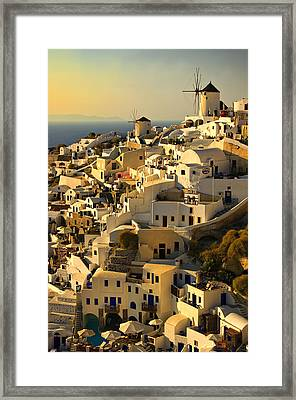evening in Oia Framed Print by Meirion Matthias