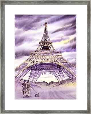 Evening In Paris A Walk To The Eiffel Tower Framed Print by Irina Sztukowski