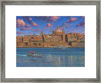 Evening In Valletta Harbour Malta Framed Print by Richard Harpum
