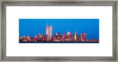 Evening Lower Manhattan New York Ny Framed Print by Panoramic Images