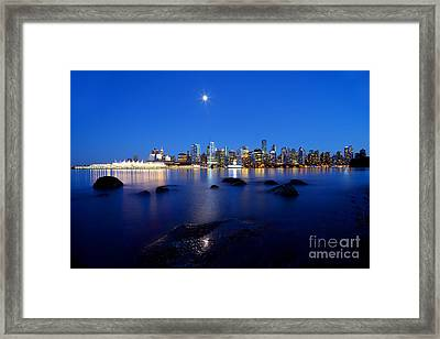 Evening Moon Over Vancouver Harbour 2 Framed Print by Terry Elniski