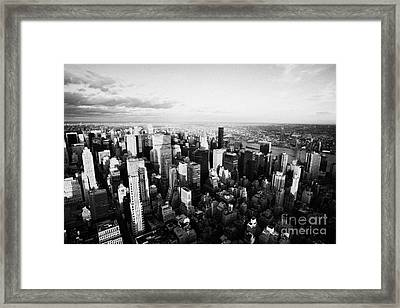 Evening Night View Of North East Manhattan From Empire State Building New York City Framed Print by Joe Fox