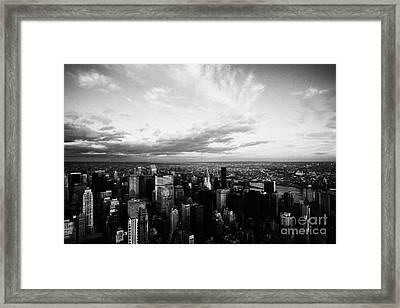 Evening Night View Of North East Manhattan Skyline New York City Framed Print by Joe Fox