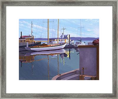 Evening On Malaspina Strait Framed Print by Gary Giacomelli