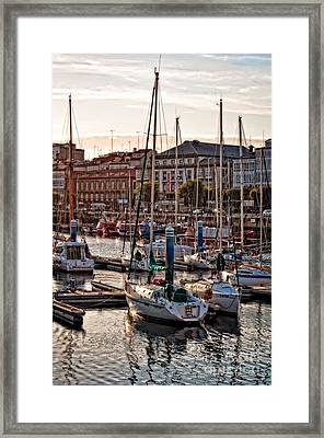Evening On The Harbor  Framed Print by Mary Machare