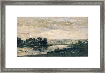 Evening On The Oise Framed Print by Charles Francois Daubigny