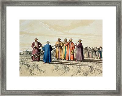 Evening Prayer Among The Kalmuks, Using Framed Print by Francois Fortune Antoine Ferogio