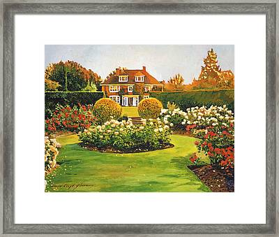 Evening Rose Garden Framed Print by David Lloyd Glover