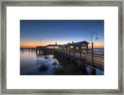 Evening Sky At The Dock Framed Print by Debra and Dave Vanderlaan