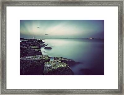 Evening Stillness Green Framed Print by Thomas Zimmerman