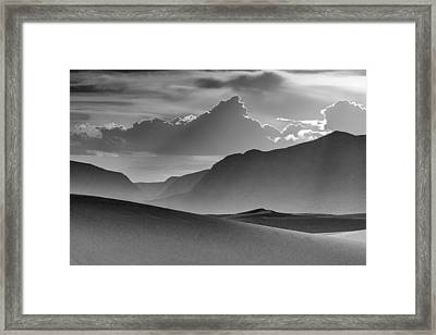 Evening Stillness - White Sands - Black And White Framed Print by Nikolyn McDonald