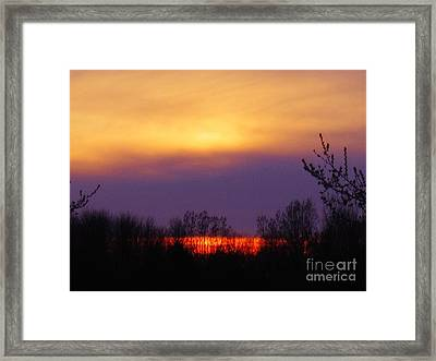 Evening Sunset Lake Framed Print by Judy Via-Wolff