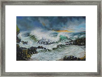 Evening Surf At Castlerock Framed Print by Barry Williamson