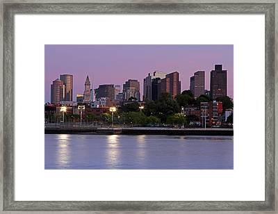 Evening View Of Boston Framed Print by Juergen Roth